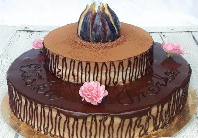 Čokoládovo fíkový dvoupatrový raw dort
