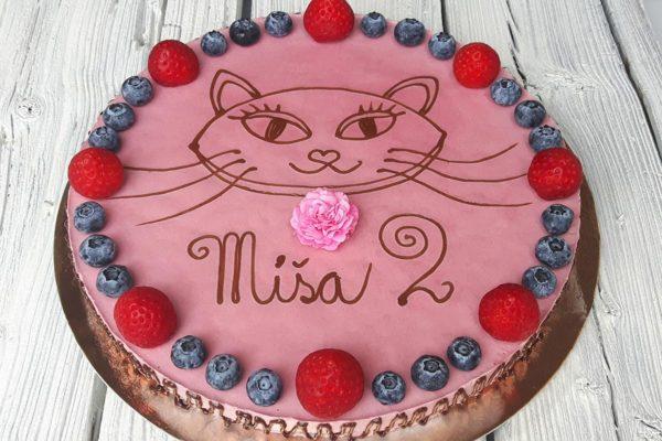 Jahodový raw dort zdobený kočičkou